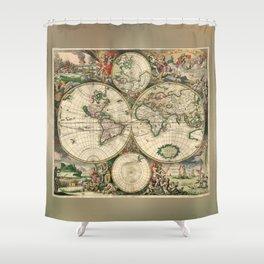 Old map of world (both hemispheres) Shower Curtain