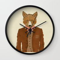 mr fox Wall Clocks featuring mr fox by bri.buckley