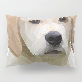 Adorable White Puppy Lowpoly Art Illustration Pillow Sham
