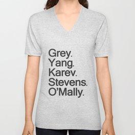 Grey, Yang, Karev, Stevens, O'mally Unisex V-Neck