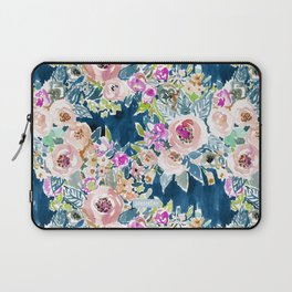 NAVY SO LUSCIOUS Colorful Watercolor Floral Laptop Sleeve