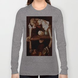 Michelangelo Merisi da Caravaggio, Narcissus at the Source, oil on canvas, 1597-99 Long Sleeve T-shirt