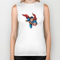 superman Biker Tanks featuring Superman by Yuliya L