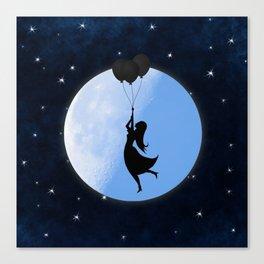 Starry Night Balloons Girl Canvas Print