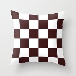 Large Checkered - White and Dark Sienna Brown Throw Pillow