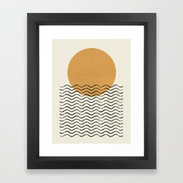 Ocean wave gold sunrise - mid century style Framed Art Print