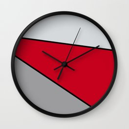 Diagonal Color Blocks in Red and Grays Wall Clock