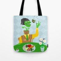 vegetarian Tote Bags featuring Vegetarian parody by Bakal Evgeny