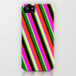Red, Fuchsia, Pale Goldenrod, Green, and Black Colored Pattern of Stripes iPhone Case