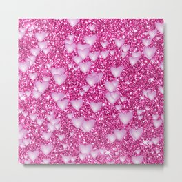 Hearts on sparkling Glitter Print,pink Metal Print