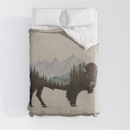 The Land of the Bison Duvet Cover