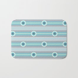 Concentric Circles and Stripes in Teals Bath Mat
