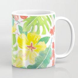 Tropical garden, hibisus, plumeria and palm leaves Coffee Mug
