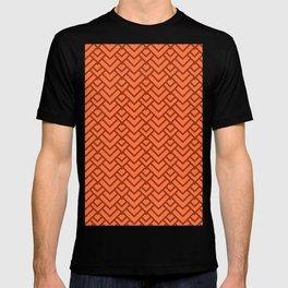 Peach Orange Dragon Scales Chevron Pattern T-shirt