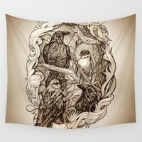 crow Wall Tapestries featuring Crow by Alice Macarova