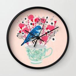 Bird on a Teacup by Andrea Lauren  Wall Clock