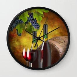 Evening Wine Tasting Art Wall Clock