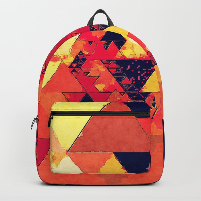 Pure fire- Red yellow black abstract Triangle pattern- Watercolor Illustration Backpack