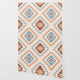 Aztec Style Motif Pattern Blue Cream Terracottas Wallpaper