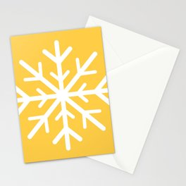 Snowflake (White & Light Orange) Stationery Cards