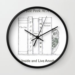 Climb Into A Book Wall Clock