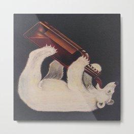 Polar Bear Drinking a Bottle Metal Print