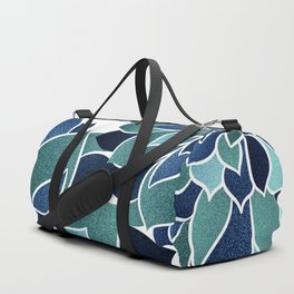 Floral Prints, Navy Blue and Teal on White Duffle Bag