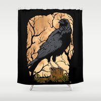 crow Shower Curtains featuring Crow by Murat Sünger