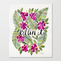 tropical Canvas Prints featuring Killin' It – Tropical Pink by Cat Coquillette