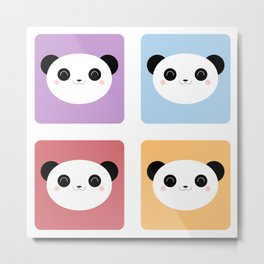 Kawaii Panda Pop Pattern Metal Print