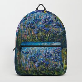 Countryside Irises Oil painting with palette knife Backpack