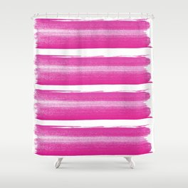 Simply handrawn pink stripes on white background Shower Curtain