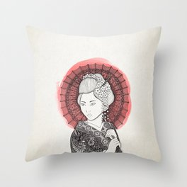Japanese flag and Geisha Throw Pillow