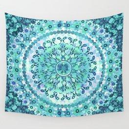 Aqua Mosaic Mandala Wall Tapestry
