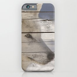 Aries the White Wolf Portrait on Faux Weathered Wood Texture iPhone Case