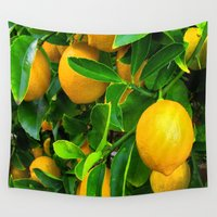 lemon Wall Tapestries featuring Lemon by Spotted Heart