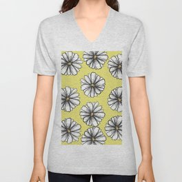 Please Don't Eat the Daisies Chartreuse Unisex V-Neck