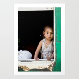 Child portrait   People of Myanmar   Burma Travel photography Art Print