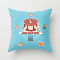 super mario Throw Pillows featuring Super Mario by Richard Howard