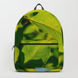 Fresh Green Tree Leaves In Summer, Tree Leaf, Intense Vivid Green, Nature In Summer, Nature Colors Backpack