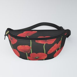 Poppies Flowers red black background Fanny Pack