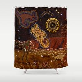 Desert Heat - Australian Aboriginal Art Theme Shower Curtain