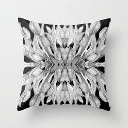 Flower Power - Monochrome Watercolour Tulips Kaleidoscope Throw Pillow