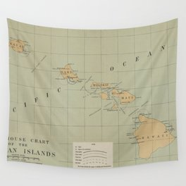 Vintage Lighthouse Map of Hawaii (1898) Wall Tapestry