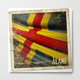 Grunge sticker of Aland Islands flag Metal Print