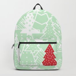 Elegant Green Christmas Trees Holiday Pattern Backpack