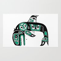 native american Area & Throw Rugs featuring Native American Orca by Steven Womack