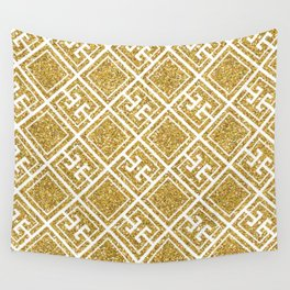 Gold Glitter Greek Pattern Wall Tapestry