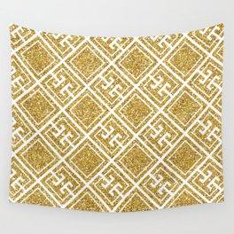 Gold Glitter Greek Pattern Wall Tapestry