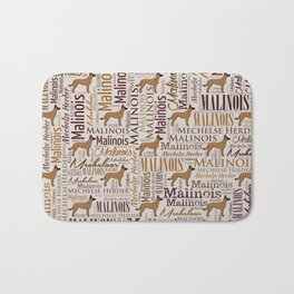 Belgian Malinois Dog Word Art pattern Bath Mat